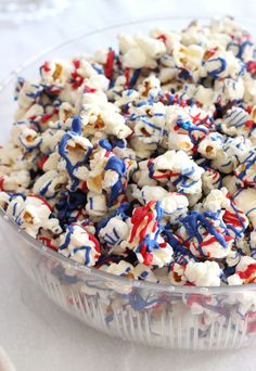 White Chocolate Covered Popcorn with Red & Blue Drizzle