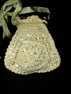 Victorian Hand Knitted Reticule Drawstring by TheGatheringVintage