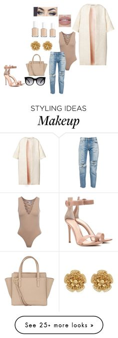 """""""Untitled #111"""" by betswe on Polyvore featuring Esme Vie, NLY Trend, Levi's, Salvatore Ferragamo, Alexander McQueen, Gianvito Rossi, Miriam Haskell and Essie"""
