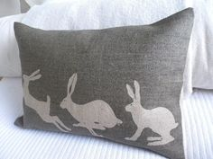 hand printed olive triptyque hare cushion cover by helkatdesign Home Interior Accessories, Cushions To Make, Sewing Toys, Textile Artists, Textiles, Applique Designs, Wool Blanket, Cushion Covers, Sewing Projects
