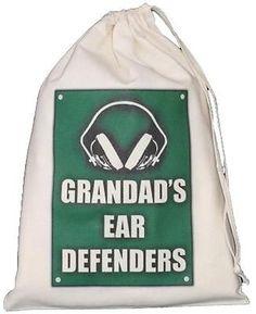 PERSONALISED - Ear Defenders Drawstring Storage Bag - Shooting DIY - GREEN Personalised EAR DEFENDERS STORAGE BAG green design Small Natural Cotton