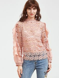Shop Pink Ruffle Trim Hollow Out Embroidered Lace Top online. SheIn offers Pink Ruffle Trim Hollow Out Embroidered Lace Top & more to fit your fashionable needs.