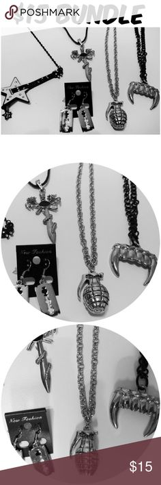 Punk Rock Necklaces Earrings Gothic Bundle ITEM #302 PRICE: $15 BUNDLE OF 5 CONDITION: NEW AS IS #C4 Hot Topic Jewelry Necklaces