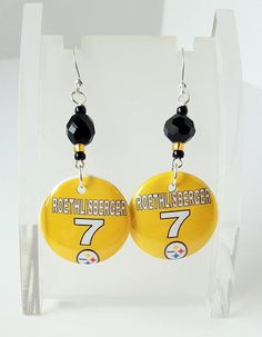 Pittsburgh Steelers Number 7 Button Earrings