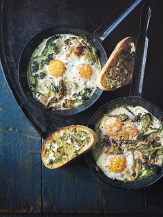 This recipe of spring purple sprouting broccoli and parmesan eggs can be served with a thick slice of garlic butter toast.