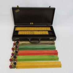 Vintage Bakelite Mah Jong Set, Cardinal Products Co. Mah Jongg With Bakelite Tiles, Racks, Chips, and Dice, Mid Century Mahjong Set on Etsy, $180.00