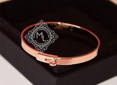 4df0f39004a869 Hermes Rose Gold 4 Diamond Kelly Bracelet Bangle Cuff SH - New Kelly Bag,  Diamond
