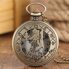 Constellation, Pocket Watch Necklace, Necklace Chain, Pendant Necklace, Clock For Kids, Quartz Pocket Watch, Birthday Fashion, Bronze Pendant, Novelty Gifts