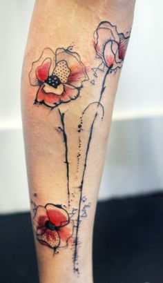 watercolor tattoos | poppy