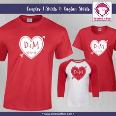 Couples Shirt Initial Heart Design | Couples Shirts | Wedding Gift | Anniversary Gift