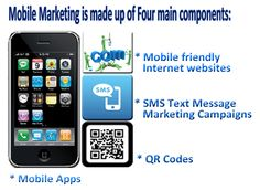 Mobile Marketing is made up of Four main components:    * Mobile friendly Internet websites  * SMS Text Message Marketing Campaigns  * QR Codes  * Mobile Apps    http://activatemobilemarketing.com/