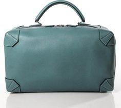 Hermes Lagon Blue Clemence Leather Maxibox 37 Travel Bag