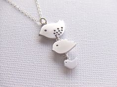 Three Birds Silver Jewelry Necklace Triple Sparrows by LycheeKiss, $25.00