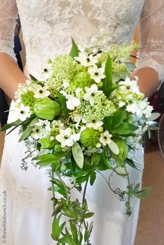 wedding bouquet using limes & whites with passion flower trails. The Wilde Bunch wedding florists, Bristol. Wedding Bouquets, Wedding Flowers, Passion Flower, Florists, Limes, Bristol, Herbs, Bride, Wedding Bride