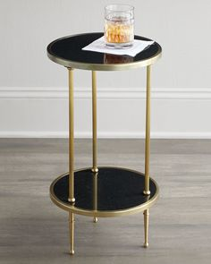 Galen Tiered Side Table, Antique Brass