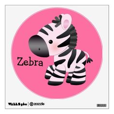 baby+zebra+cartoon+pictures | Cute Pink Zebra Wall Decal from Zazzle.com