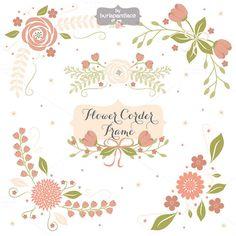 Flower corner, frame clipart by burlapandlace on Creative Market
