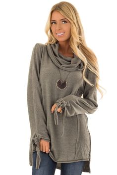 d84d7526f5a2b Dusty Olive Cowl Neck Top with Long Sleeve Tie Detail front close up Cowl  Neck Top