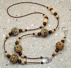 Brown Natural Carved Wood Beaded Lanyard ID by ArtisticTouches, $24.99  IBHandmade