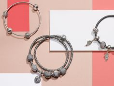 Go monochromatic with your style. Silver bracelets and silver charms create a unique stack that's all your own. #PANDORA #PANDORAstyle
