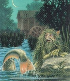 In Slavic mythology, vodyanoy is a male water spirit. Vodník in Czech fairy tales is the same creature as the Wassermann or nix of German fairy tales. He is said to appear as a naked old man with a greenish beard and long hair, with his body covered in algae and muck, usually covered in black fish scales. He has webbed paws instead of hands, a fish's tail, eyes that burn like red-hot coals. He usually rides along his river on a half-sunk log, making loud splashes.