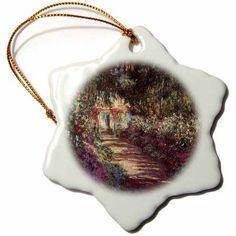 3dRose Monet - Garden In Flower, Snowflake Ornament, Porcelain, 3-inch