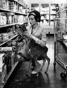 Audrey Hepburn had a pet deer that cuddled her - google for more images.