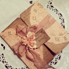 Peach doily tri-fold rustic invitation, with small flowers and tag, lace vintage - hand made rustic