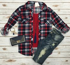 Penny Plaid Flannel Top: Navy/Red top can be worn as long sleeves or a 3/4 top…
