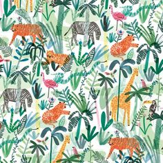 Jungle animals wrapping paper hiding between tropical palm t Art And Illustration, Pattern Illustration, Illustrations, Textures Patterns, Print Patterns, Paper Patterns, Pattern Print, Motif Jungle, Jungle Pattern