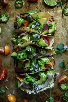 Sweet Potato Avocado Tacos- Vegan and GF Mexican Food Recipes, Whole Food Recipes, Vegetarian Recipes, Cooking Recipes, Healthy Recipes, Vegan Meals, Free Recipes, Dinner Recipes, Carnitas