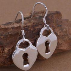 Sterling splated heart lock earrings New! Sorry no trades . 15% off bundles🌸 Jewelry Earrings