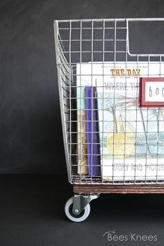 just the bee's knees: DIY Rolling Book Basket