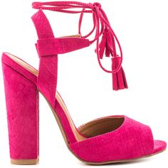 Qupid Women's McKenna - Fuchsia Snake (€53) ❤ liked on Polyvore featuring shoes, sandals, heels, zapatos, pink, qupid shoes, high heel sandals, strap heel sandals, pink heel sandals and snake sandals