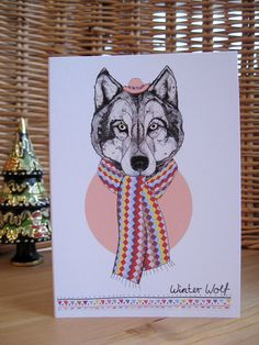 Winter Wolf // Christmas Card by SandraDieckmann on Etsy, £2.50