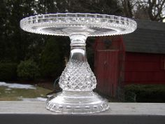 "EAPG ""Superior"" aka ""PINEAPPLE Pedestal"" ""Diamond Point"" pattern Cake Stand made by U.S. Glass circa 1891 & Ripley Glass circa 1896. 10 3/8""D (plating area of 9 1/2""D) x 7.5""H, 5 7/8"" d base"