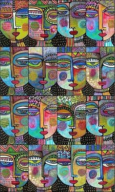 Sixteen Woman Painting by Sandra Silberzweig