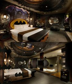 Cool nerdy bedrooms...I want the Batcave one minus all the hanging bats, lol