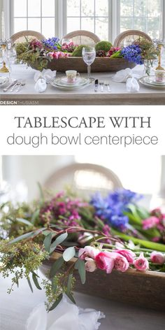 Do you love the mix of rustic with refined? This rustic chic table is based around a vintage dough bowl centerpiece paired with elegant tabletop elements. French Table Setting, Country Table Settings, French Farmhouse Decor, French Country Decorating, Country Interior Design, Table Setting Inspiration, Winter Table, Centerpieces, Table Decorations