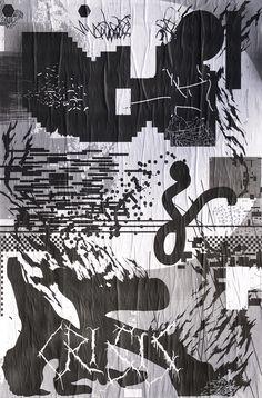 "ficciones-typografika:  Corbin Mahieu and Swahili, Ficciones Typografika 766-768 (24""x36""). Installed on January 18, 2015. Part two of two. More on Ficciones Typografika.  More on: Berlin based music and graphic design blog ~ www.waaterkant.com"