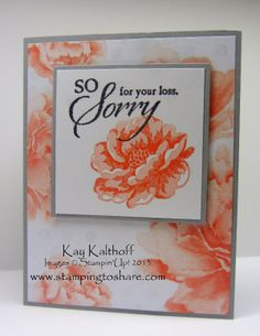 Stamping to Share: Stippled Blossom Sympathy with How To Video, Kay Kalthoff, Stamping to Share, Stampin' Up!, Watercolor Wonder, So Sorry, Sympathy