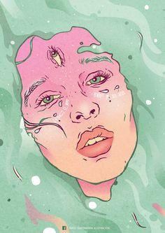 """""""Entonces el mar brotó de sus ojos"""" Matu Santamaria Ilustración"""