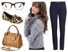Gray turtleneck navy pants leopard loafers