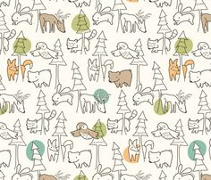 A Walk in the Woods fabric by auki for sale on Spoonflower - custom fabric, wallpaper and wall decals