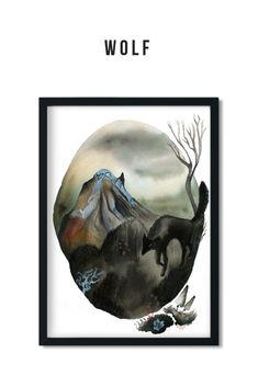 Wolf art print Painting Illustrations, Watercolor Paintings, Various Artists, Giclee Print, Wolf, Batman, Art Prints, Garden, Artwork
