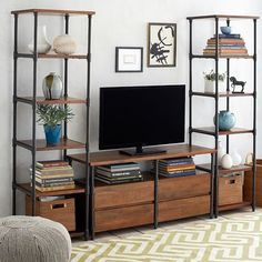 Wood and Pipe Bookcase | Roll Over Image to Zoom