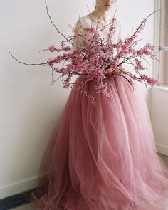 "andantegrazioso: ""Pink flowers and tulle 