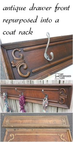 Repurposed Drawer Front coat rack. Turn an orphan drawer front into a unique and useful rack to hold coats, hats, towels, etc.