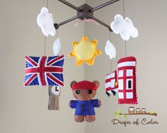 Baby Mobile - Baby Crib Mobile - Dream about London - British, United Kingdom, Telephone Booth, Big Ben - Baby Room Decor