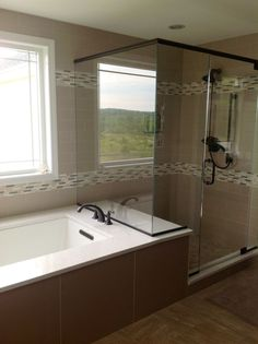 This is the shower/tub layout I want, with drop in tub instead of undermount.